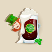 Saint Patrick's Day design with dark beer — Stock Vector