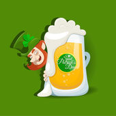Saint Patrick's Day design with light beer — Stock Vector
