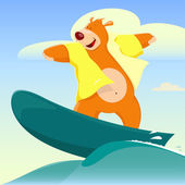 Cartoon Bear Surfer — Stock Vector