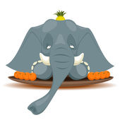 Dish with elephant for terribly hungry — Stock Vector