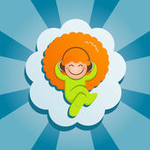 The red-haired guy lies on a cloud and listens to music — Stock Vector