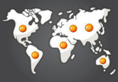 Fried eggs in a shape of world map — Stock Vector