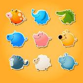 Bubble animals - cute animals ia shape of circle — Stock Vector