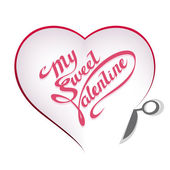Valentines Day - Shape of heart with scissors — Stock Vector