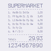 Supermarket bill font — Stock Vector