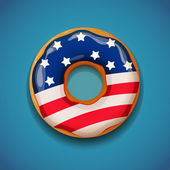 Independence day - Donut with flag of USA — Stock Vector