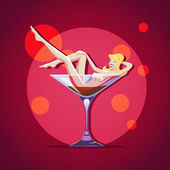Vintage Bar poster with naked woman — ストックベクタ