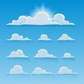 Set of cartoon vector clouds — Stock Vector