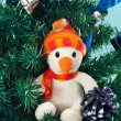 Toy snowman on Christmas tree — Stock Photo