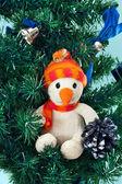 Toy snowman on Christmas tree — Stock Photo