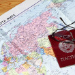 Passport on map of the USSR — Stock Photo