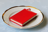 Red book on white chinaware — Stock Photo