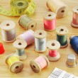 Spools of various threads — Stock Photo
