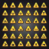 Señales de advertencia y peligro amarillas — Vector de stock
