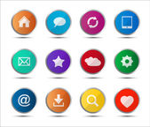 Set of colored navigation web icons — Stock Vector