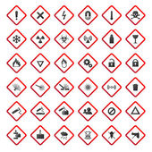 Warning and danger signs collection isolated on white background — Stock Vector