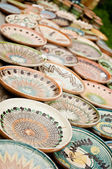 Porcelain plates for sale — Stock Photo