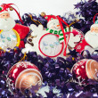 Christmas balls and figurines — Stock Photo