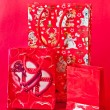 Red shopping  Christmas bags — 图库照片
