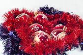Tinsel and christmas balls — Stockfoto