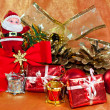 Stock Photo: Christmas ornaments with Santfigurine