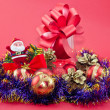 Tinsel and Christmas ornaments — Stock Photo #17028853