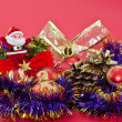 Christmas ornaments and tinsel — Stock Photo