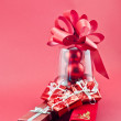Jewelry red boxes and Christmas gift — Stock Photo