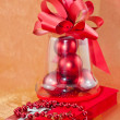 Jewelry red boxes and Christmas balls — Stock Photo