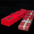 Foto Stock: Gift red boxes for jewelry