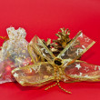Golden ornaments for Christmas - Stock Photo