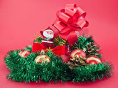 Tinsel and Christams ornaments — Stock Photo
