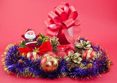 Tinsel and Christmas ornaments — Stock Photo