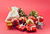 Christmas decorations, bright colored — Stock Photo