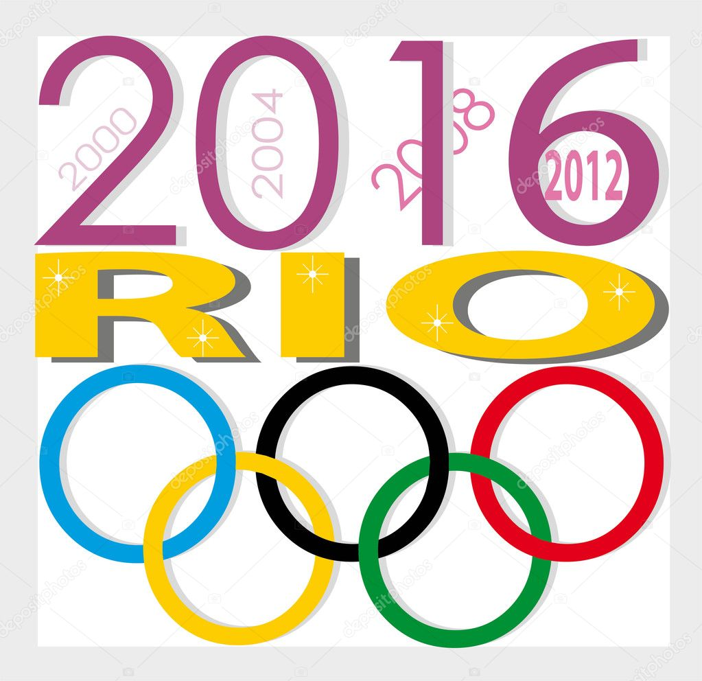 Poster of Olympic Games 2016 in Rio de Janeiro.  Olympic rings colors.