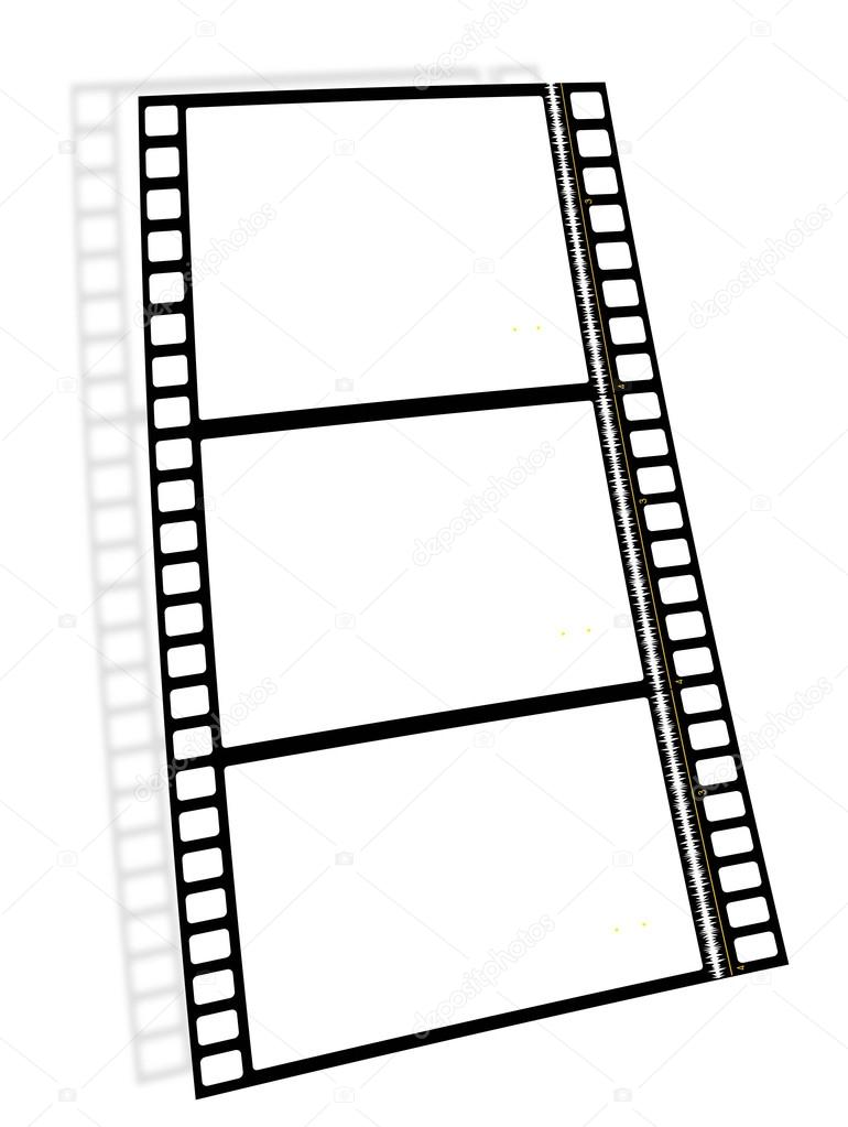 Three empty frames of film with the soundtrack and the shadow — Stock Vector #13713058