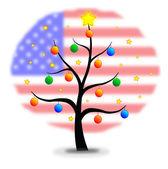 Noel ağacı abd bayrağı — Stok Vektör
