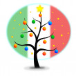 Stock Vector: Christmas tree Flag Italy