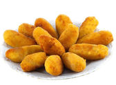 Dish with fried croquettes — Stock Photo