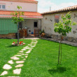 Stone path on lawn — Foto de Stock