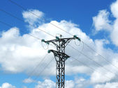 Green insulators of medium voltage tower — Stock Photo