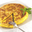 Foto Stock: Spanish omelette with fork