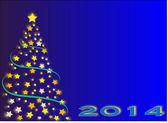 Yılbaşı ağacı yıldız 2014 — Stok Vektör