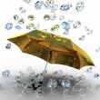 Diamond under the umbrella golden — Stock fotografie