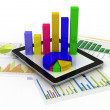 Stock Photo: Tablet showing spreadsheet and paper with statistic charts,