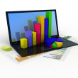 Laptop showing a spreadsheet and a paper with statistic charts, — Stock Photo #30307947