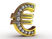 Golden euro encrusted with diamonds — Stock Photo