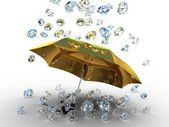 Diamond under the umbrella golden — Stock Photo