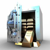 Safety deposit box and gold bras on white background, 3D images — Stock Photo