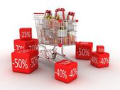 Shopping trolley and gifts, 3D — Stock Photo